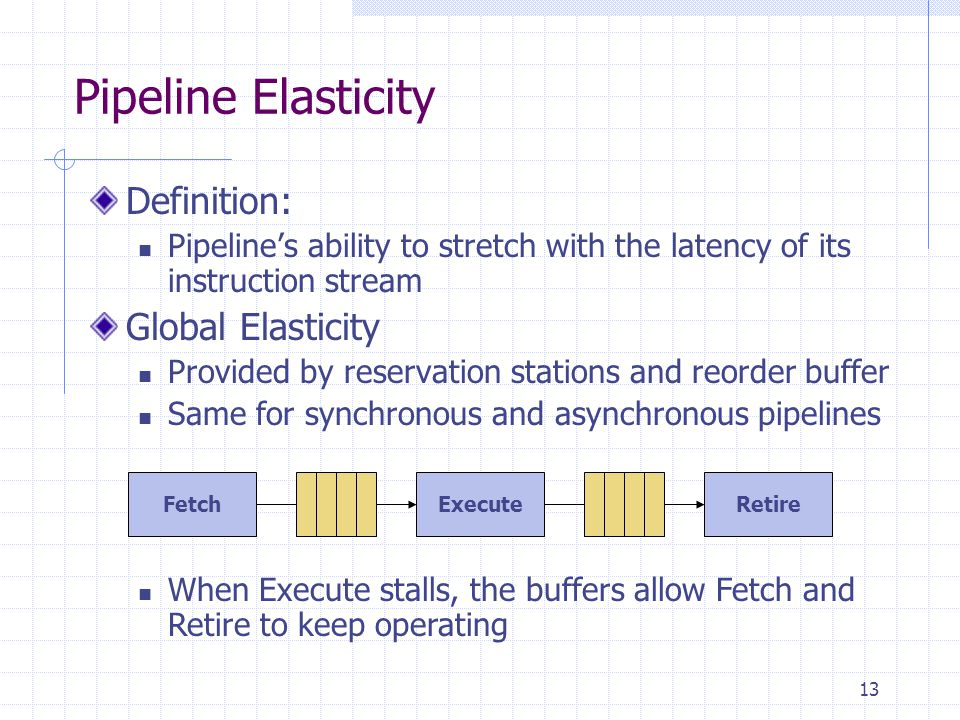 13 Pipeline Elasticity Definition: Pipeline's ability to stretch with the latency of its instruction stream Global Elasticity Provided by reservation stations and reorder buffer Same for synchronous and asynchronous pipelines FetchExecuteRetire When Execute stalls, the buffers allow Fetch and Retire to keep operating