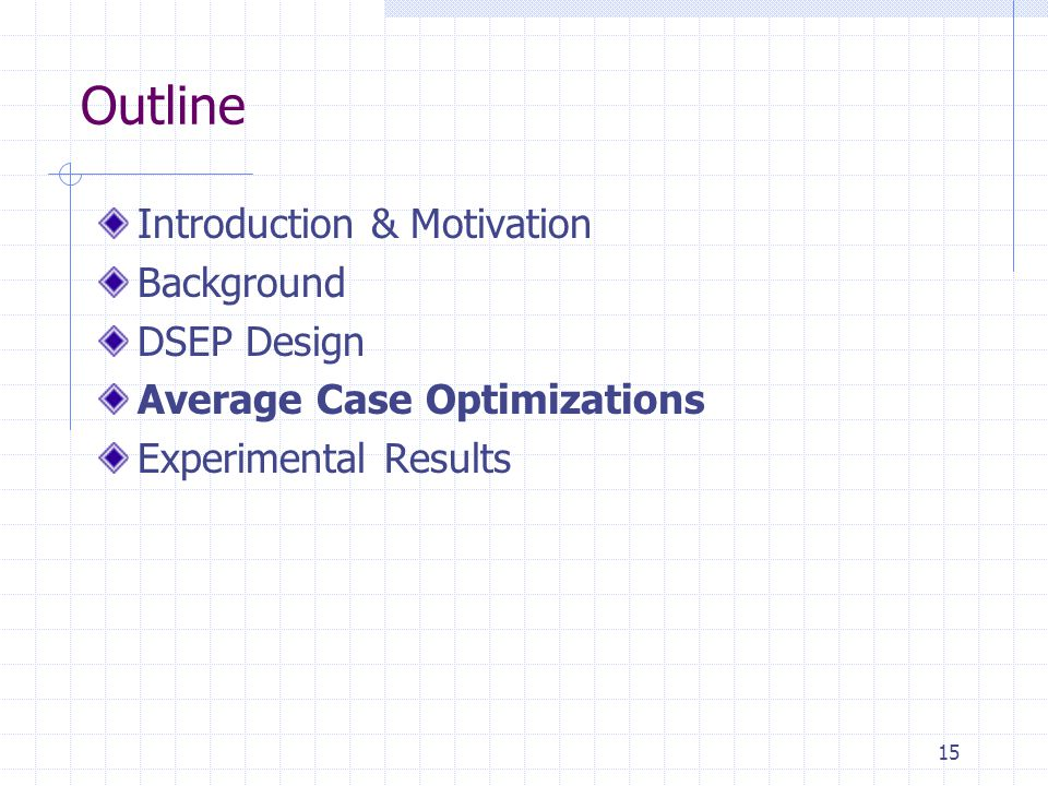 15 Outline Introduction & Motivation Background DSEP Design Average Case Optimizations Experimental Results