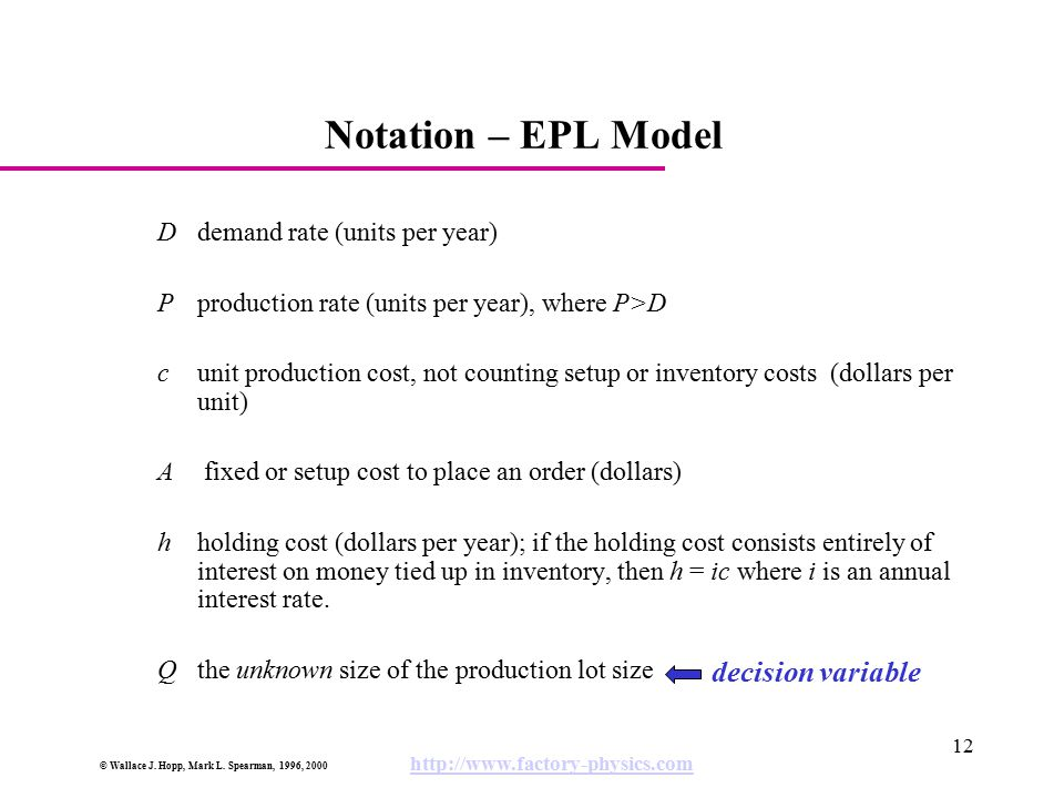 © Wallace J. Hopp, Mark L. Spearman, 1996, 2000 http://www.factory-physics.com 12 Notation – EPL Model D demand rate (units per year) Pproduction rate