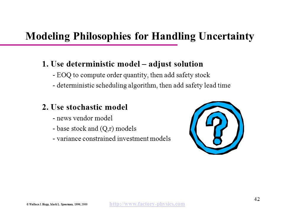 © Wallace J. Hopp, Mark L. Spearman, 1996, 2000 http://www.factory-physics.com 42 Modeling Philosophies for Handling Uncertainty 1. Use deterministic