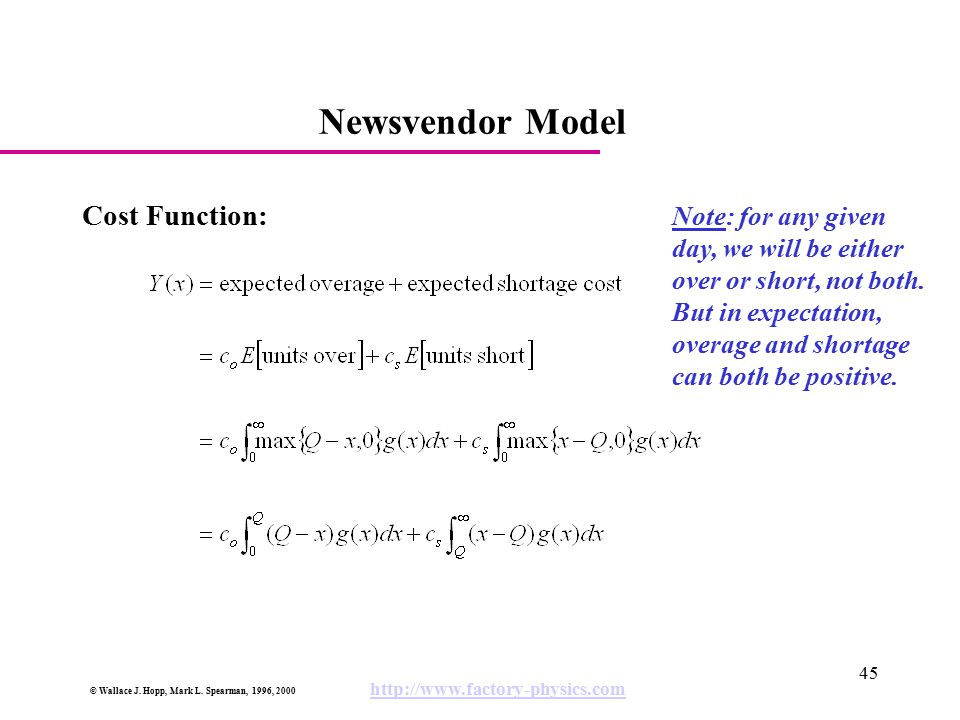 © Wallace J. Hopp, Mark L. Spearman, 1996, 2000 http://www.factory-physics.com 45 Newsvendor Model Cost Function: Note: for any given day, we will be