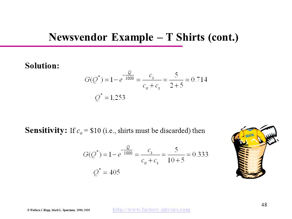 © Wallace J. Hopp, Mark L. Spearman, 1996, 2000 http://www.factory-physics.com 48 Newsvendor Example – T Shirts (cont.) Solution: Sensitivity: If c o