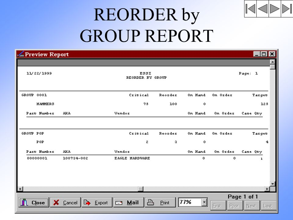 REORDER by GROUP REPORT
