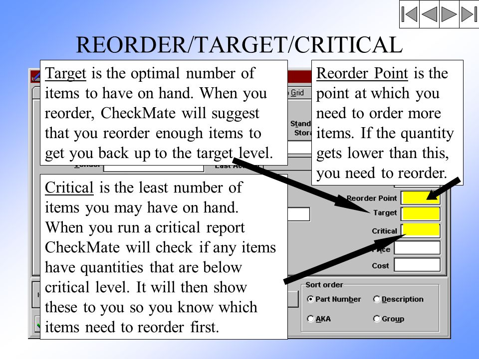 REORDER/TARGET/CRITICAL Reorder Point is the point at which you need to order more items.