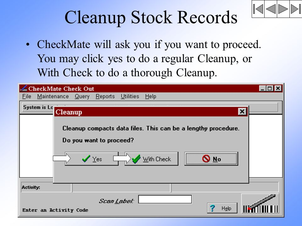 Cleanup Stock Records CheckMate will ask you if you want to proceed.