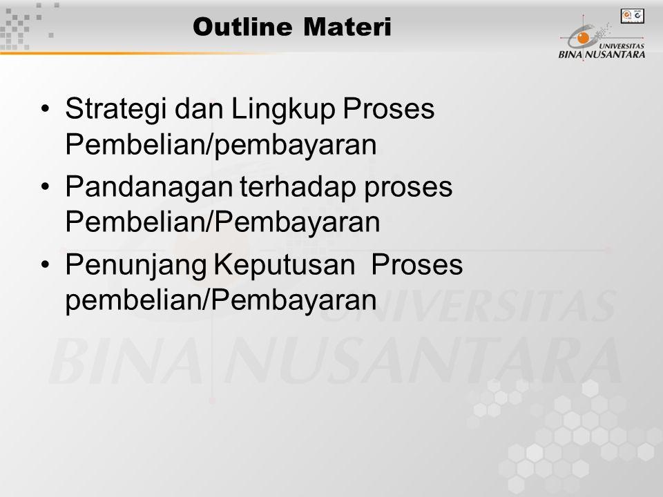 Outline Materi Strategi dan Lingkup Proses Pembelian/pembayaran Pandanagan terhadap proses Pembelian/Pembayaran Penunjang Keputusan Proses pembelian/Pembayaran