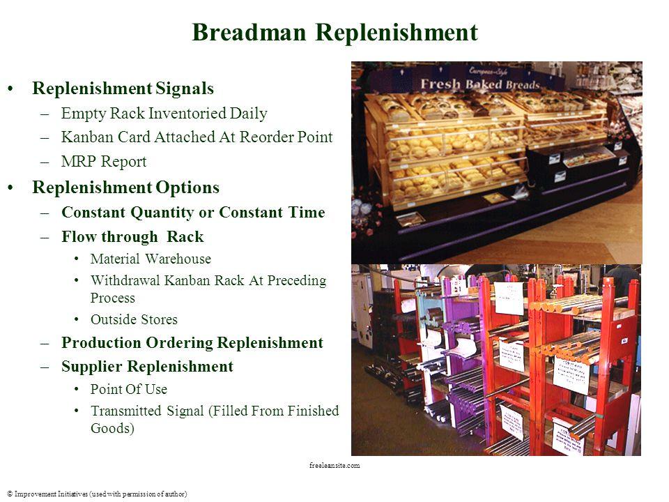 © Improvement Initiatives (used with permission of author) freeleansite.com Maturity Path Stockroom –Pick List/ MRP –Kitting –Centralized Breadman –P.O.U.