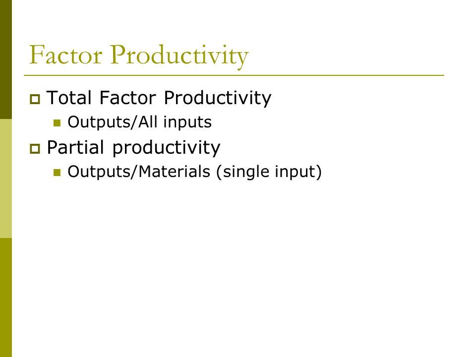 Factor Productivity  Total Factor Productivity Outputs/All inputs  Partial productivity Outputs/Materials (single input)