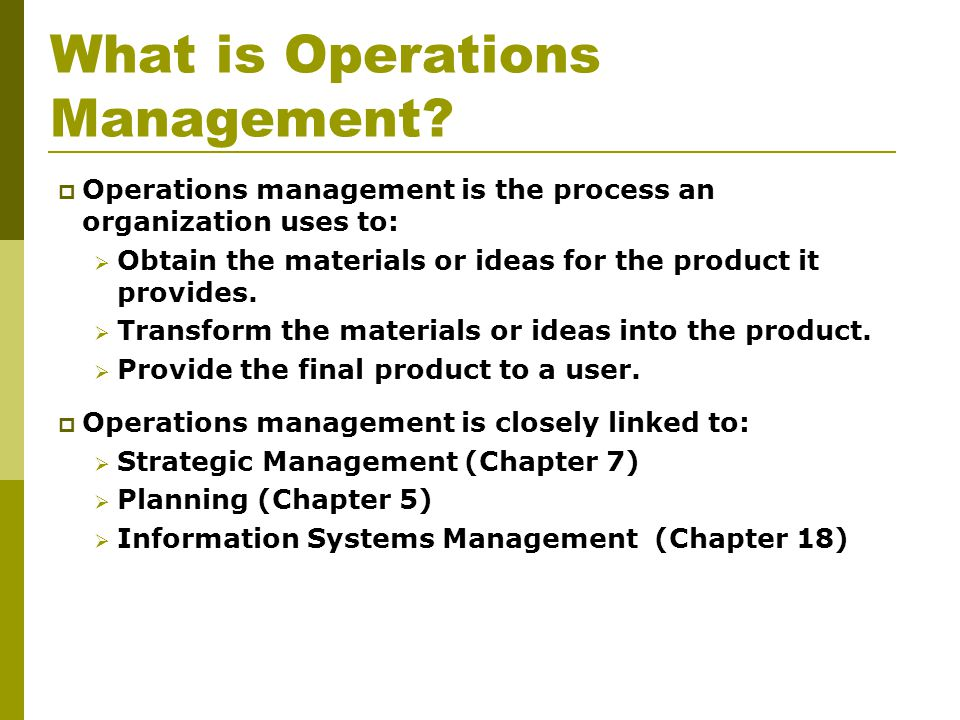 What is Operations Management.