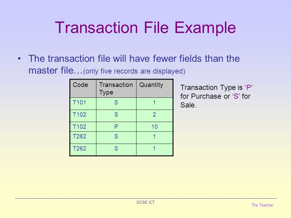 The Teacher GCSE ICT File Update The transaction file is used to update the master file.