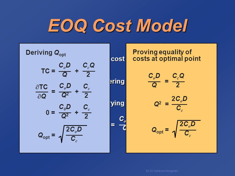 BA 320 Operations Management EOQ Cost Model C o - cost of placing orderD - annual demand C c - annual per-unit carrying costQ - order quantity Annual ordering cost = CoDCoDQQCoDCoDQQQ Annual carrying cost = CcQCcQ22CcQCcQ222 Total cost = + CoDCoDQQCoDCoDQQQ CcQCcQ22CcQCcQ222 TC = + CoDQCoDQ CcQ2CcQ2 = + CoDQ2CoDQ2 Cc2Cc2  TC  Q 0 = + C0DQ2C0DQ2 Cc2Cc2 Q opt = 2CoDCc2CoDCc Deriving Q opt Proving equality of costs at optimal point = CoDQCoDQ CcQ2CcQ2 Q 2 = 2CoDCc2CoDCc Q opt = 2CoDCc2CoDCc
