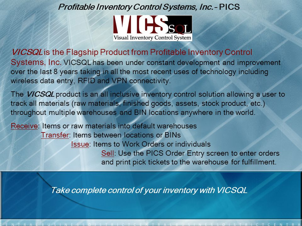Profitable Inventory Control Systems, Inc. – PICS