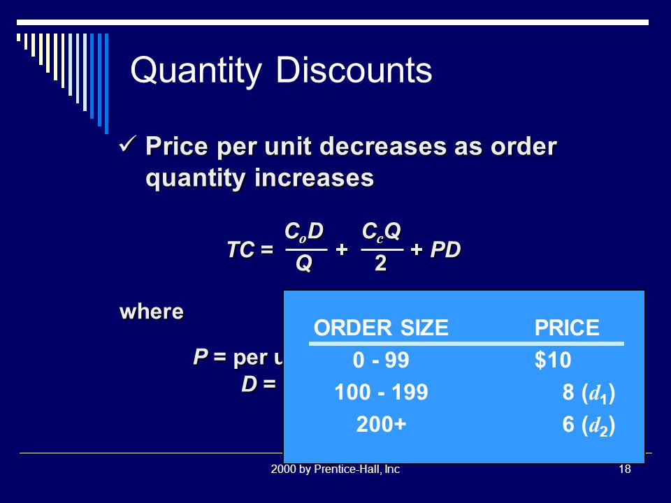 2000 by Prentice-Hall, Inc18 Quantity Discounts Price per unit decreases as order quantity increases Price per unit decreases as order quantity increases TC = + + PD CoDCoDQQCoDCoDQQQ CcQCcQ22CcQCcQ222 where P = per unit price of the item D = annual demand ORDER SIZEPRICE 0 - 99$10 100 - 1998 ( d 1 ) 200+6 ( d 2 )