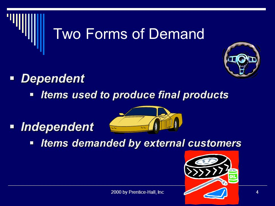 2000 by Prentice-Hall, Inc4 Two Forms of Demand  Dependent  Items used to produce final products  Independent  Items demanded by external customers