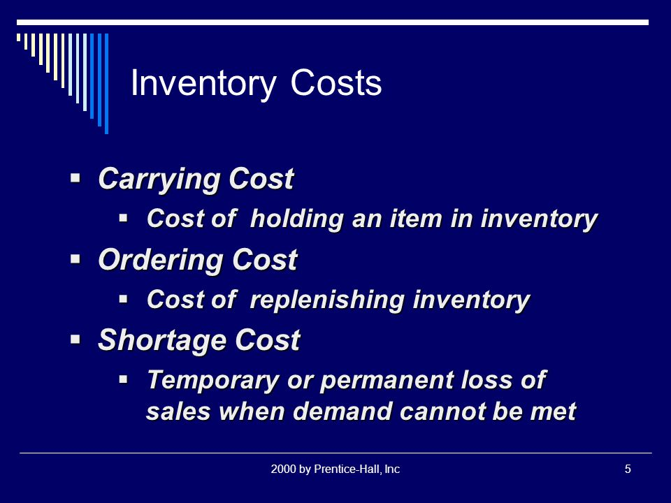 2000 by Prentice-Hall, Inc5 Inventory Costs  Carrying Cost  Cost of holding an item in inventory  Ordering Cost  Cost of replenishing inventory  Shortage Cost  Temporary or permanent loss of sales when demand cannot be met