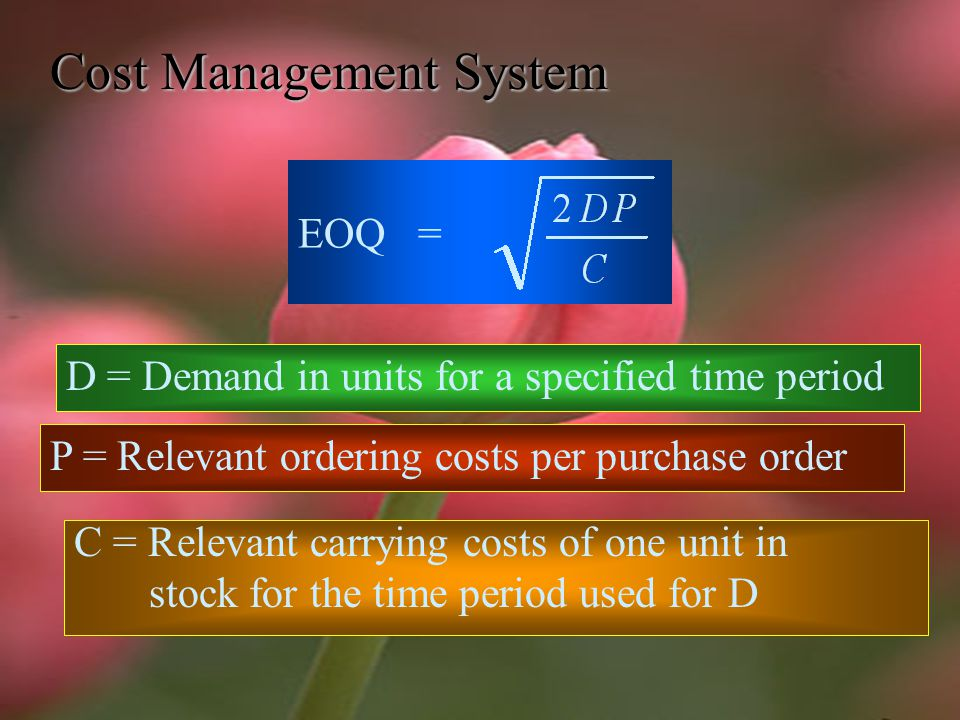 Cost Management System 4. No stockouts occur. 5.