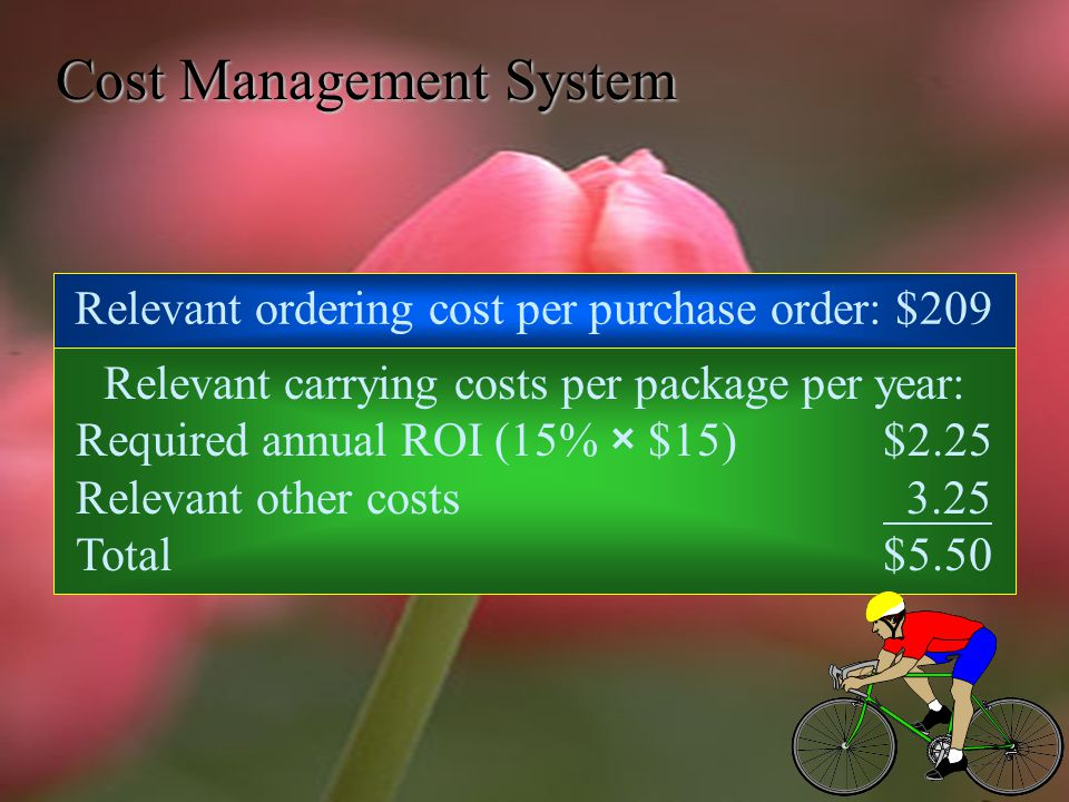 Cost Management System Annual demand is 12,844 packages, at the rate of 247 packages per week.