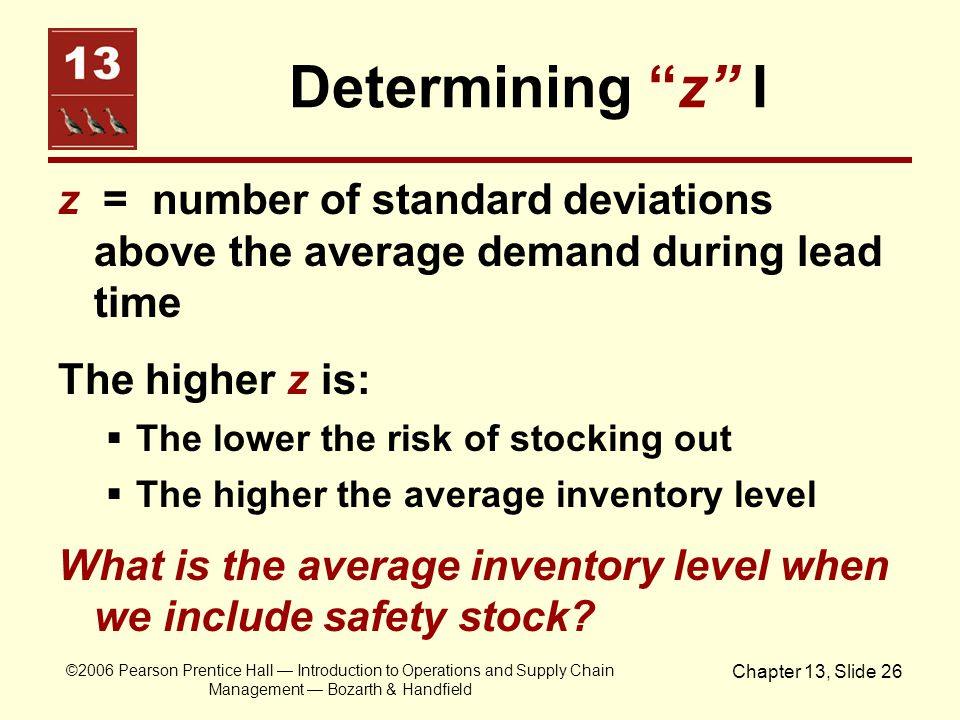 """©2006 Pearson Prentice Hall — Introduction to Operations and Supply Chain Management — Bozarth & Handfield Chapter 13, Slide 26 Determining """"z"""" I z ="""
