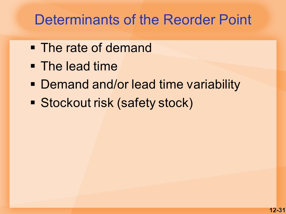 12-31 Determinants of the Reorder Point  The rate of demand  The lead time  Demand and/or lead time variability  Stockout risk (safety stock)