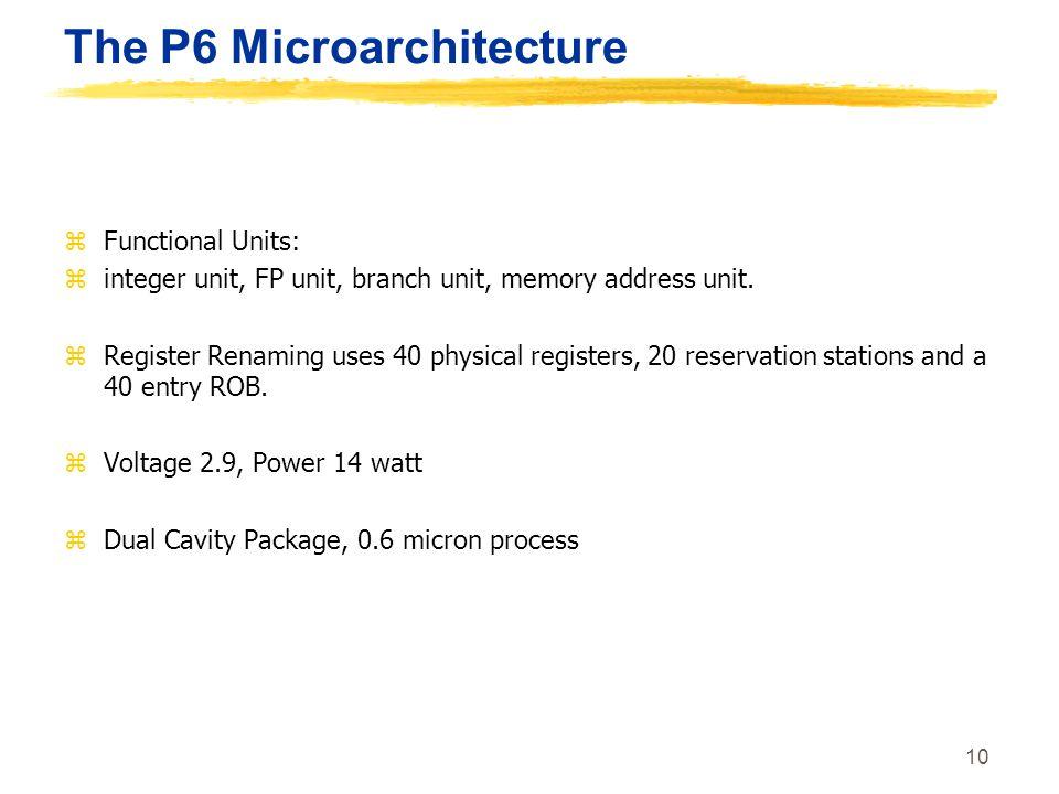 10 The P6 Microarchitecture zFunctional Units: zinteger unit, FP unit, branch unit, memory address unit. zRegister Renaming uses 40 physical registers