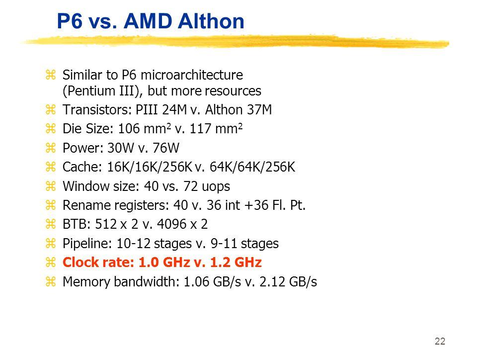 22 P6 vs. AMD Althon zSimilar to P6 microarchitecture (Pentium III), but more resources zTransistors: PIII 24M v. Althon 37M zDie Size: 106 mm 2 v. 11