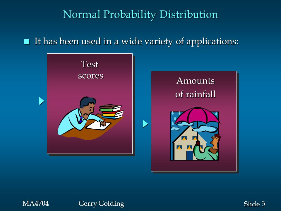 4 4 Slide MA4704Gerry Golding Normal Probability Distribution n Normal Probability Density Function  = mean  = standard deviation  = 3.14159 e = 2.71828 where: