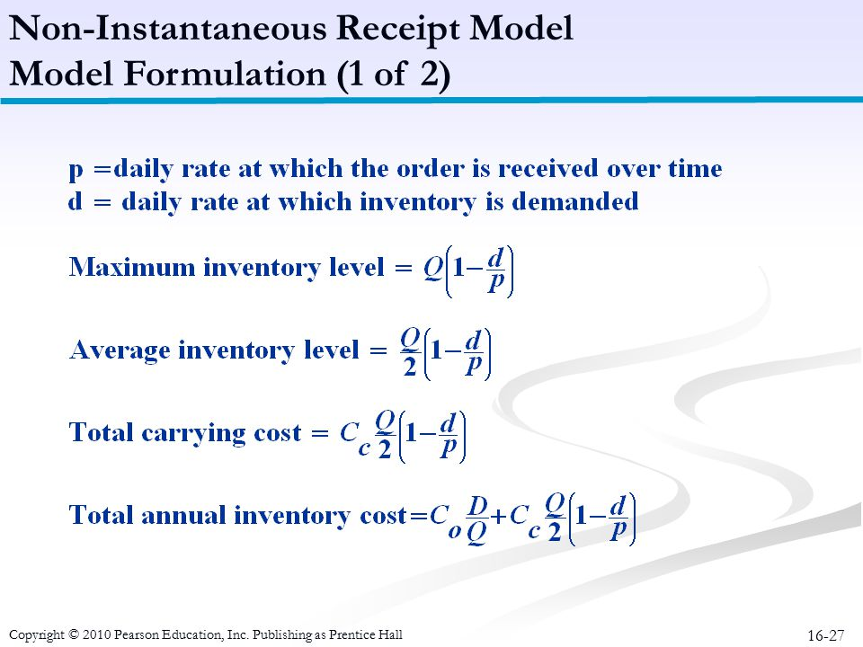 16-27 Non-Instantaneous Receipt Model Model Formulation (1 of 2) Copyright © 2010 Pearson Education, Inc. Publishing as Prentice Hall