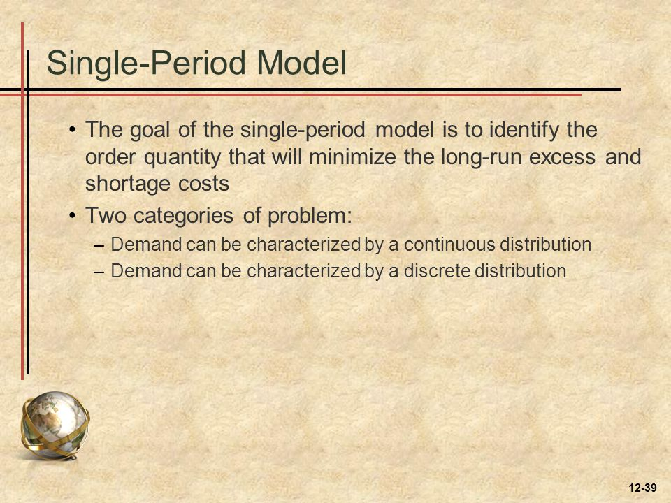 Single-Period Model The goal of the single-period model is to identify the order quantity that will minimize the long-run excess and shortage costs Tw