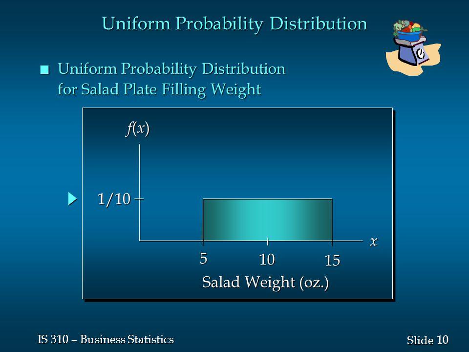 10 Slide IS 310 – Business Statistics n Uniform Probability Distribution for Salad Plate Filling Weight f(x)f(x) f(x)f(x) x x 5 5 10 15 1/10 Salad Weight (oz.) Uniform Probability Distribution