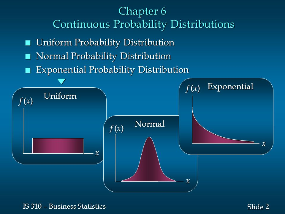 3 3 Slide IS 310 – Business Statistics Continuous Probability Distributions n A continuous random variable can assume any value in an interval on the real line or in a collection of intervals.