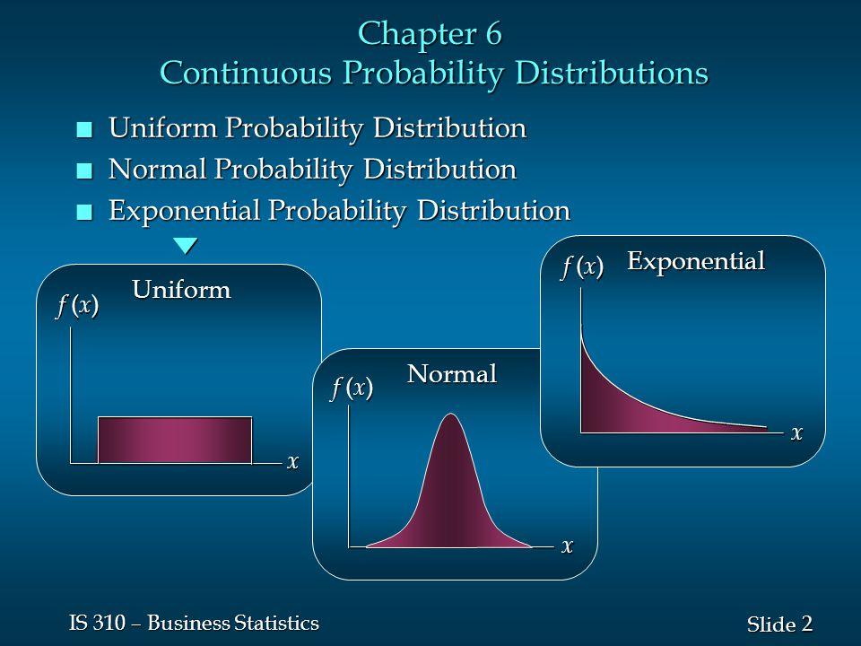 23 Slide IS 310 – Business Statistics Normal Probability Distribution n Characteristics x  – 3   – 1   – 2   + 1   + 2   + 3  68.26% 95.44% 99.72%