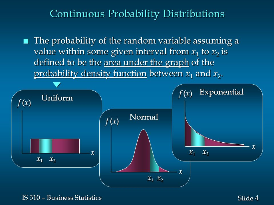 4 4 Slide IS 310 – Business Statistics Continuous Probability Distributions n The probability of the random variable assuming a value within some give