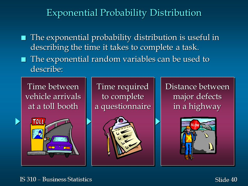 40 Slide IS 310 – Business Statistics Exponential Probability Distribution n The exponential probability distribution is useful in describing the time