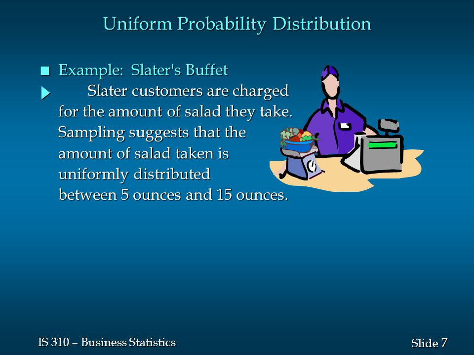 8 8 Slide IS 310 – Business Statistics n Uniform Probability Density Function f ( x ) = 1/10 for 5 < x < 15 f ( x ) = 1/10 for 5 < x < 15 = 0 elsewhere = 0 elsewhere f ( x ) = 1/10 for 5 < x < 15 f ( x ) = 1/10 for 5 < x < 15 = 0 elsewhere = 0 elsewhere where: x = salad plate filling weight x = salad plate filling weight Uniform Probability Distribution