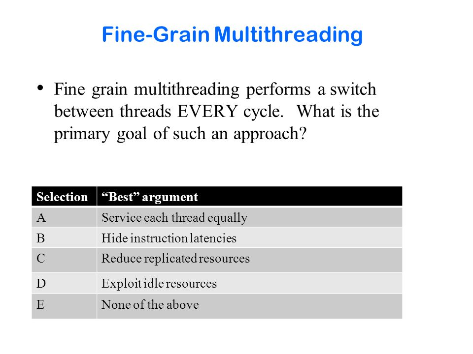 Fine-Grain Multithreading Fine grain multithreading performs a switch between threads EVERY cycle. What is the primary goal of such an approach? Selec