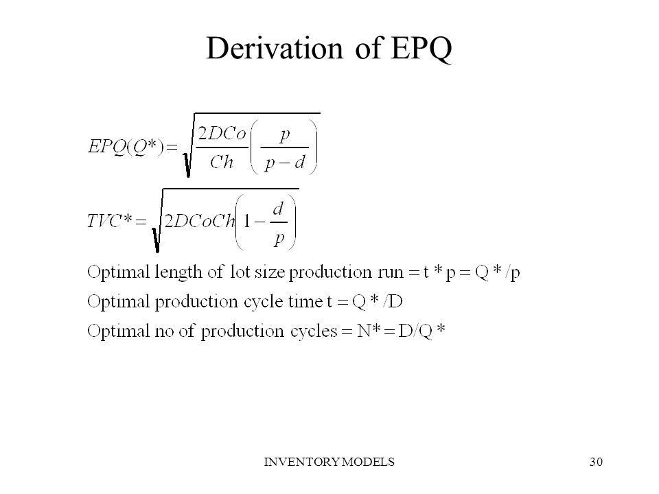 INVENTORY MODELS30 Derivation of EPQ
