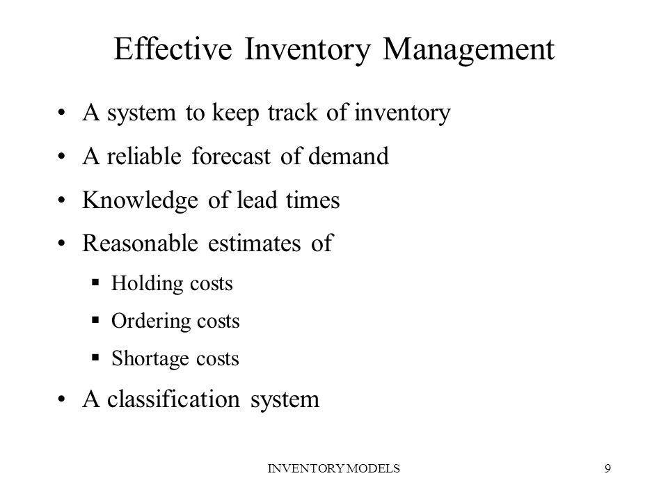 INVENTORY MODELS40 Reorder Level with Constant Demand Reorder Level will be equal to lead time demand.