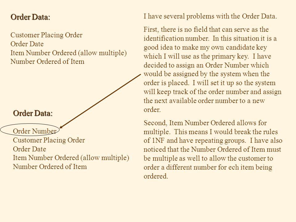 Order Data: Customer Placing Order Order Date Item Number Ordered (allow multiple) Number Ordered of Item I have several problems with the Order Data.