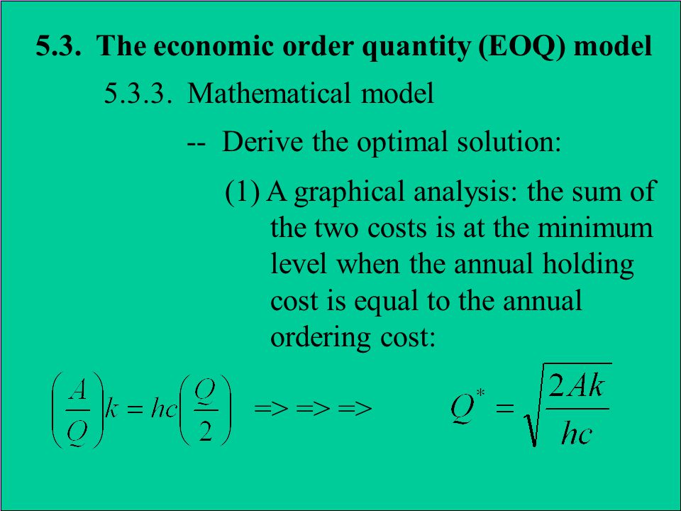 5.3. The economic order quantity (EOQ) model 5.3.3. Mathematical model -- Derive the optimal solution: (1) A graphical analysis: the sum of the two co