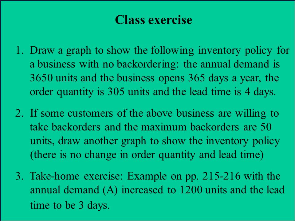 Class exercise 1.