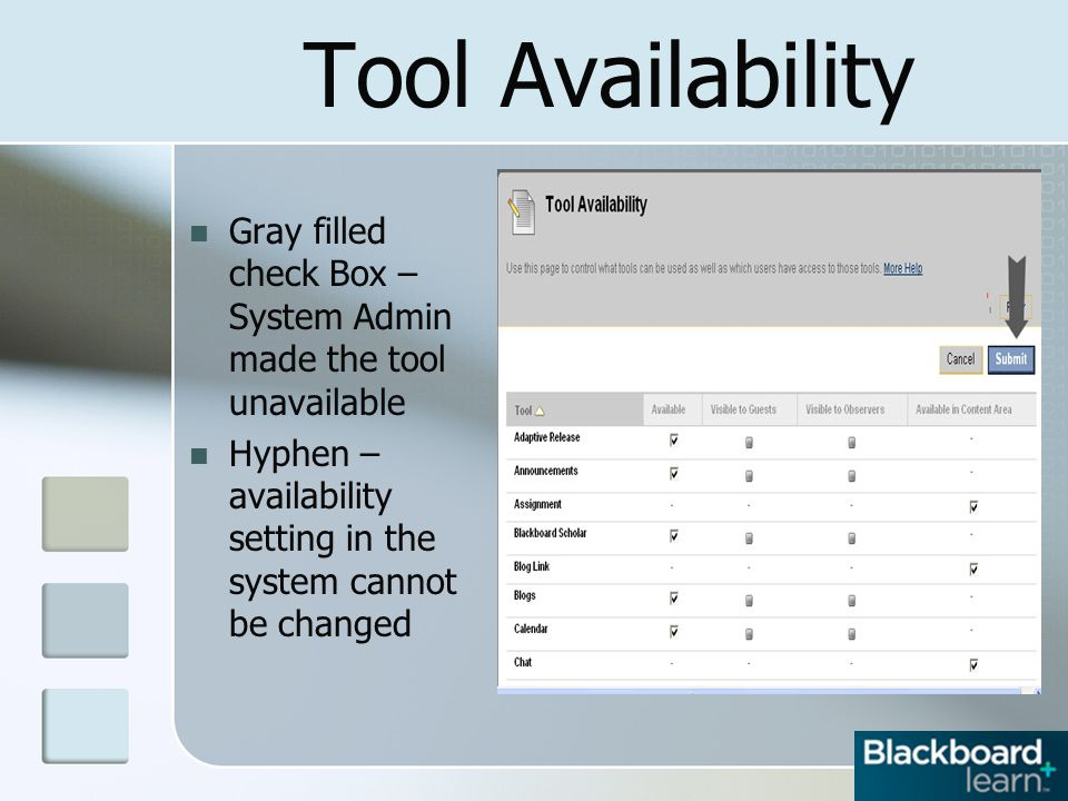 Tool Availability Gray filled check Box – System Admin made the tool unavailable Hyphen – availability setting in the system cannot be changed