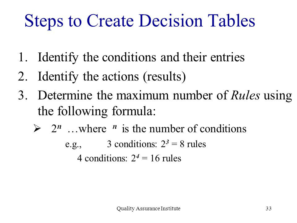 Quality Assurance Institute33 Steps to Create Decision Tables 1.Identify the conditions and their entries 2.Identify the actions (results) 3.Determine