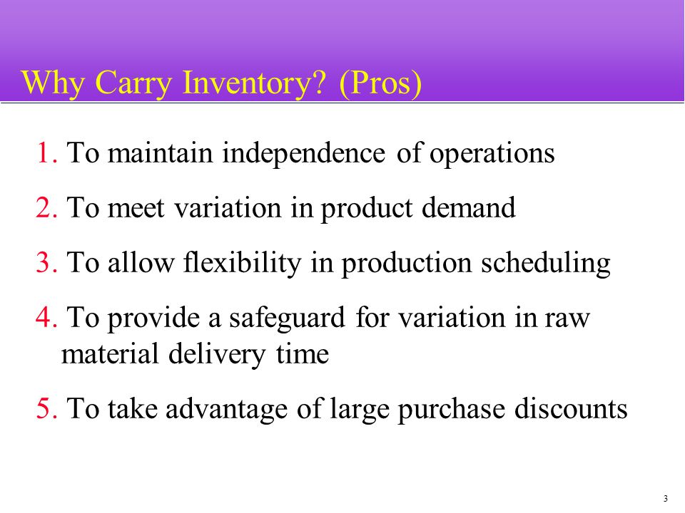 4 Inventory Carrying and Changing Costs (Cons) u Carrying costs (most significant) –Interest (capital opportunity cost) u Setup (or production change) costs –Tooling u Ordering costs u Shortage costs –Difficult to evaluate e.g.