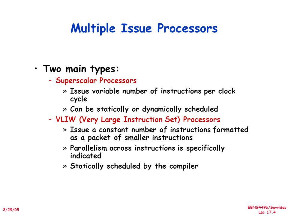 EENG449b/Savvides Lec 17.45 3/29/05 Pentium 4 features Multimedia instructions 128 bits wide vs.