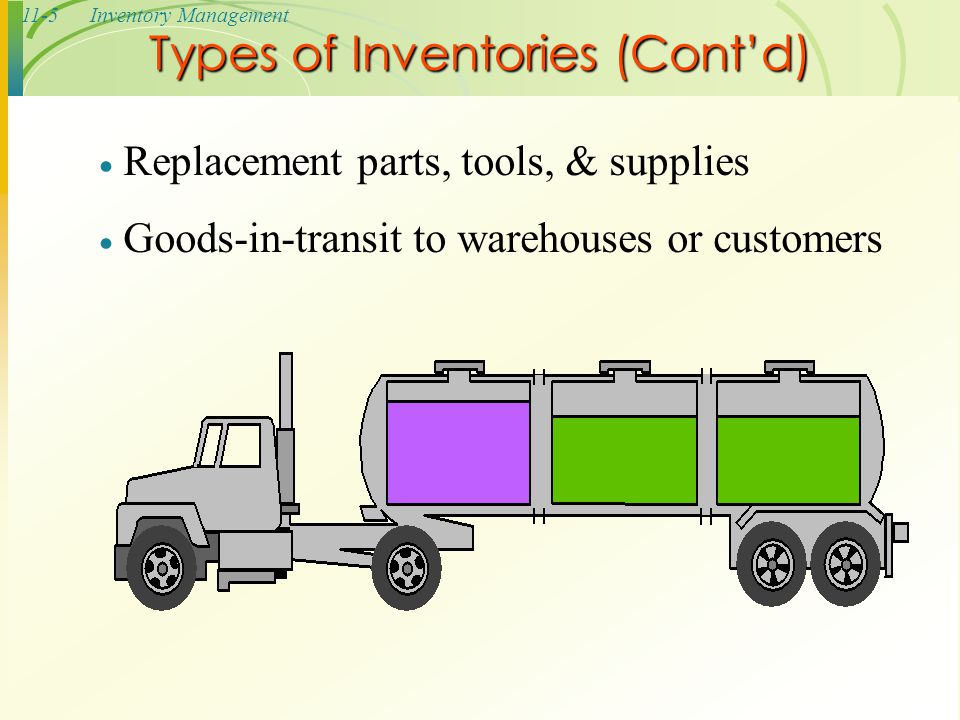 11-5Inventory Management Types of Inventories (Cont'd)  Replacement parts, tools, & supplies  Goods-in-transit to warehouses or customers