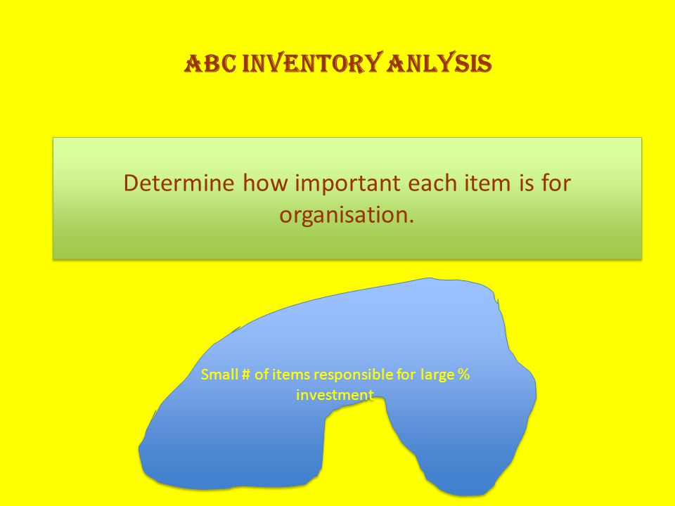 ABC INVENTORY ANLYSIS Determine how important each item is for organisation.