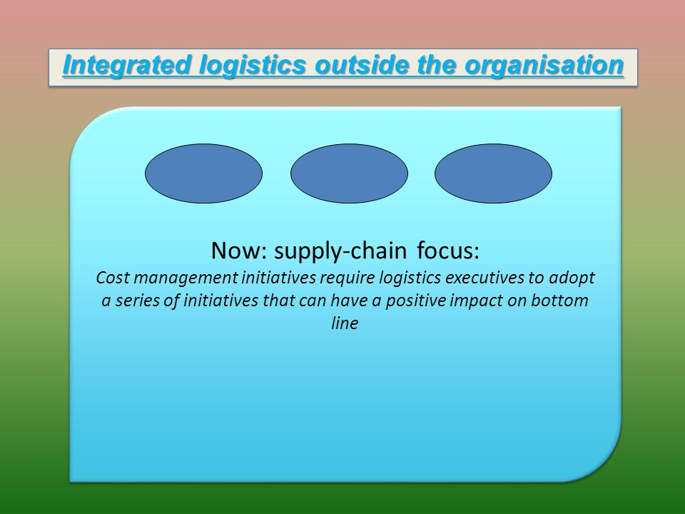 Now: supply-chain focus: Cost management initiatives require logistics executives to adopt a series of initiatives that can have a positive impact on bottom line Now: supply-chain focus: Cost management initiatives require logistics executives to adopt a series of initiatives that can have a positive impact on bottom line Integrated logistics outside the organisation