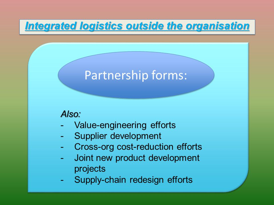 Integrated logistics outside the organisation Partnership forms: Also: -Value-engineering efforts -Supplier development -Cross-org cost-reduction efforts -Joint new product development projects -Supply-chain redesign efforts
