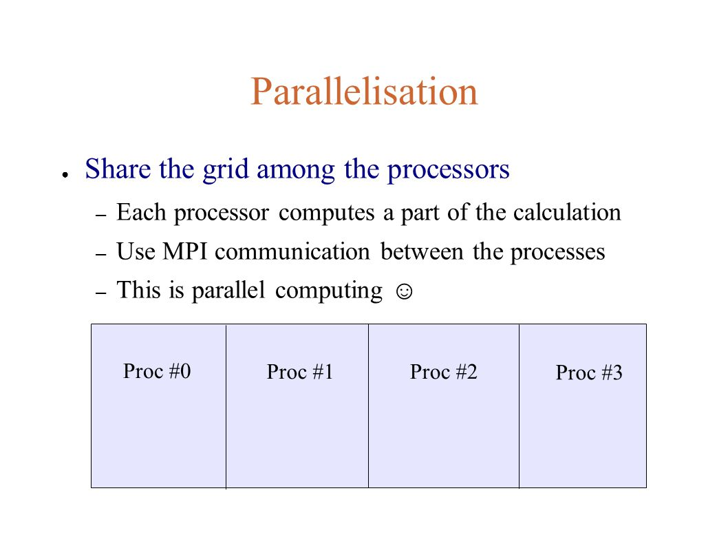 Parallelisation ● Share the grid among the processors – Each processor computes a part of the calculation – Use MPI communication between the processes – This is parallel computing ☺ Proc #0 Proc #1 Proc #3 Proc #2