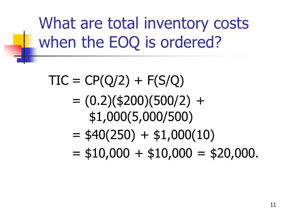 11 What are total inventory costs when the EOQ is ordered.